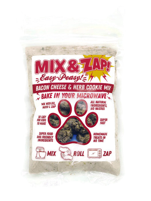 Mix & Zap - make at home microwave Bacon, Cheese & Herb flavoured dog cookies