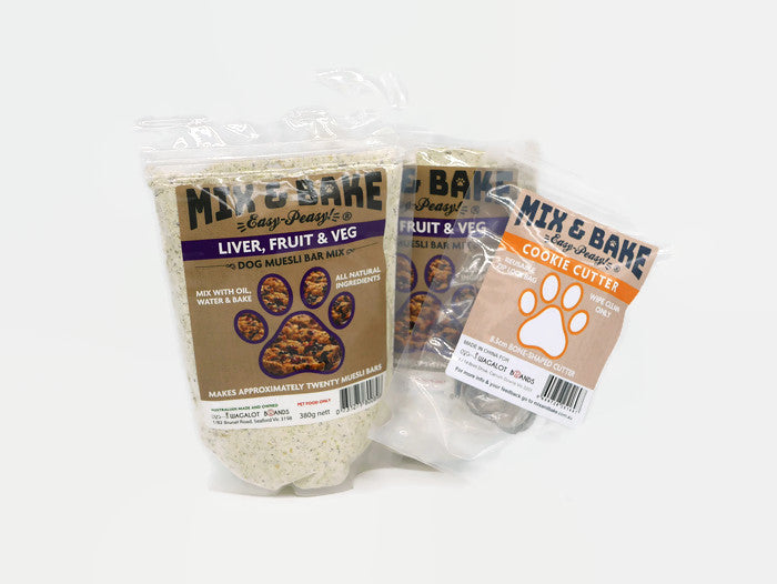 Mix & Bake Doggy Muesli Bar Premix- 2 X 420G Bags. Comes With A Cookie Cutter.