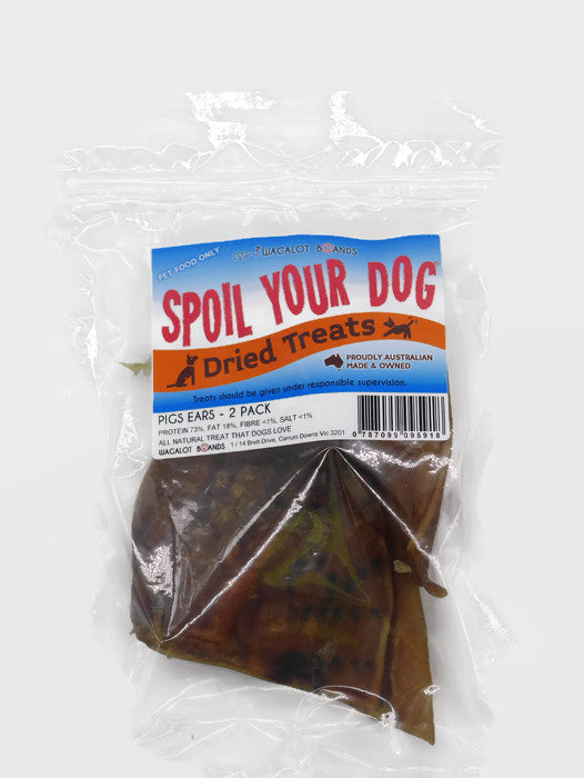 Spoil Your Dog Pigs Ears - 2 pack of natural dog treats