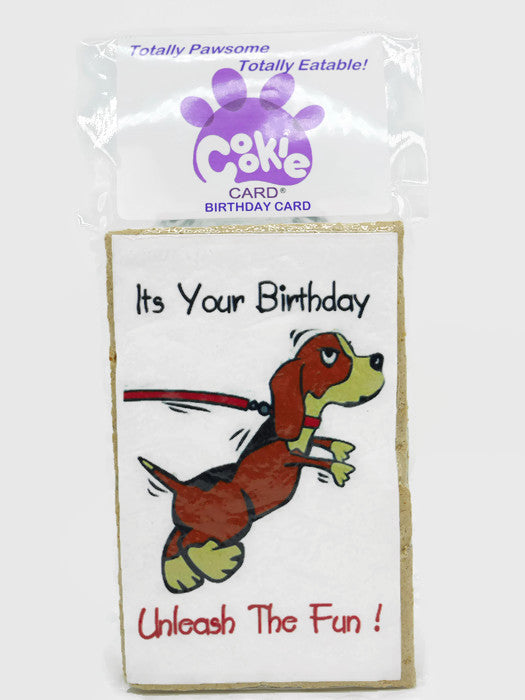 Cookie Card - rectangular cookie with birthday message and picture printed on icing