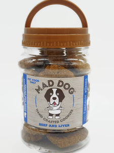 Mad Dog reusable Cookie Jar – filled with 400 grams of beef and liver dog cookies