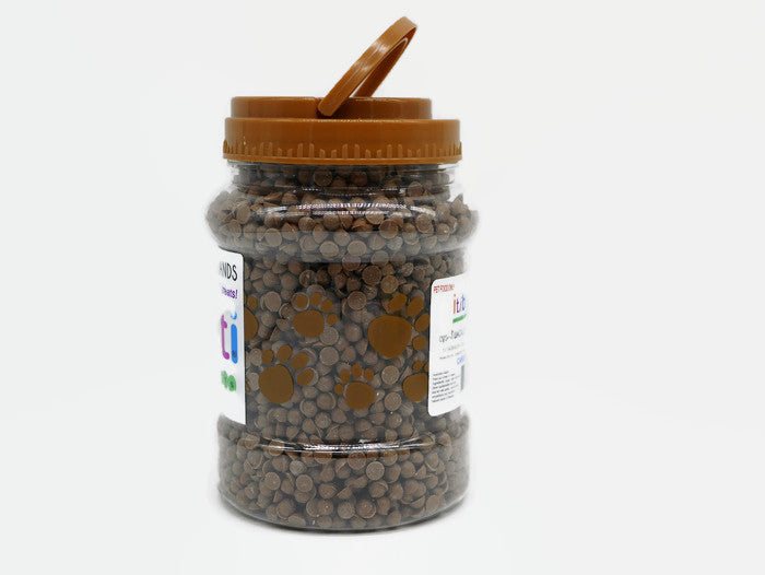 Wagalot Iti Biti Training Treats - 1 X 650G Jar Of Carob Chips & 1 X 650G Jar Of Vanilla Chips.