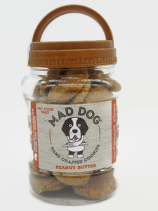 Mad Dog Peanut Butter Cookies in reusable cookie Jar – 400g