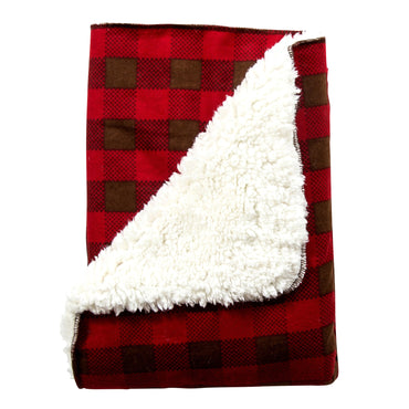 Trend Lab Northwoods Plaid Flannel Faux-Shearling Receiving Blanket