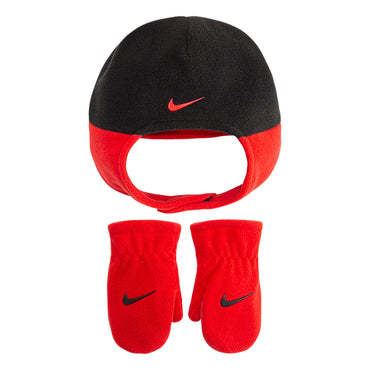 Toddler Boy Nike Red & Black Fleece Trapper Hat & Mittens Set