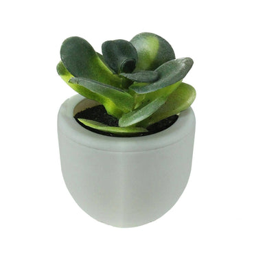 "3"" Mini Artificial Succulent Planter with White Pot Table Top Decoration - Green"