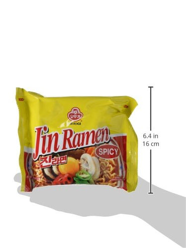 Ottogi Jin Ramen Spicy, 4.23 Ounces, (Pack of 20)