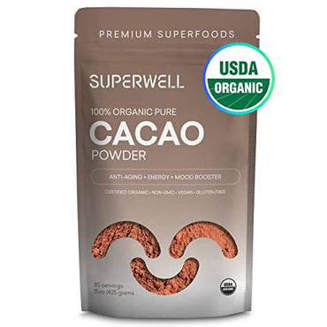 SUPERWELL Organic Cacao Powder | Cocoa Powder (15 Oz / 85 Servings) | Sugar Free | Raw | All Natural | Keto Chocolate | Premium Superfood | Anti-Aging