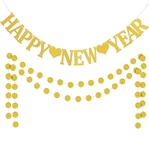 Gold Happy New Year Banner With Circle Dots Party Decorations Supplies