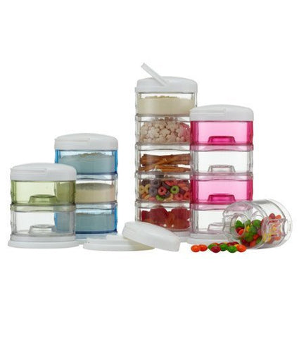 Innobaby Packin' Smart Stackable and Portable Storage System for Formula, Baby Snacks and more. 3 Stackable Cups in Mango Sorbet. BPA Free.