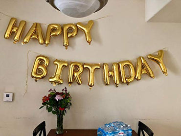 Happy Birthday Balloons, OUTGEEK Happy Birthday Banner Foil Letters Balloons Mylar Balloons for Birthday Party Decoration