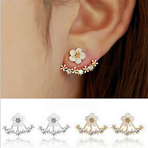 sandywident Korean Jewelry New Zircon Crystal Front Back Double Sided Stud Earrings