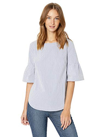 Lark & Ro Women's Three Quarter Sleeve Stretch Boatneck Blouse