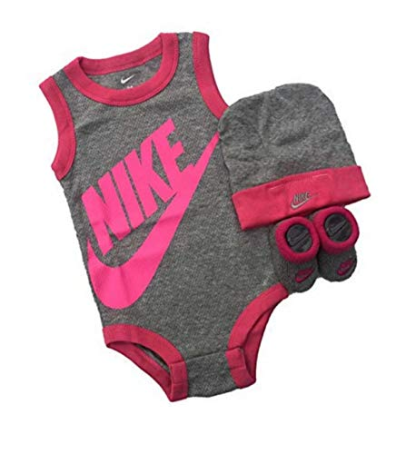 NIKE Three-Piece Infant (0-6) Month's Girl's Bodysuit Gift Set (Grey/Vivid Pink)