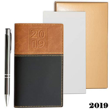 2019 Weekly Pocket Calendar Organizer | Business Polished Chrome Trim Pen & a Notepad Included | 12 Months Week-in-View Planner, Weekly Quotes | All in a Gold Gift Box Set.