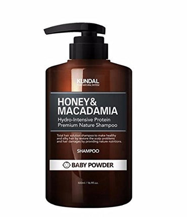 KUNDAL Honey&Macadamia Hydro-Intensive Protein Premium Nature Shampoo (BABY POWDER) 500ml