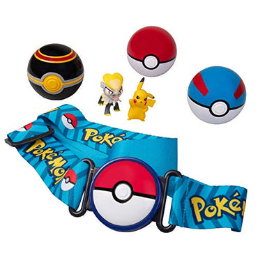 Pokémon Clip 'N' Go Belt Set with 3 Poké Balls & 2 Figures - Includes Pikachu and Jangmo-O Figure - Holds Up to 6 Pokeballs - Ages 4 +