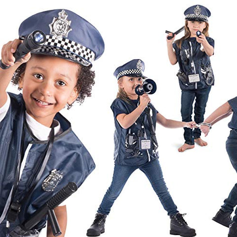 Born Toys 12 Pcs Police Costume for Kids with Toy Role Play Kit with Police Badge, Handcuffs,Kids Flashlight for Cop Costume, FBI,Detective,Swat, and Kids Dress-up Clothes