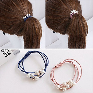Casualfashion 10Pcs/Lot Korean Hair Accessories Multi Layer Hair Ring with Pearls Hair Rope Hairband