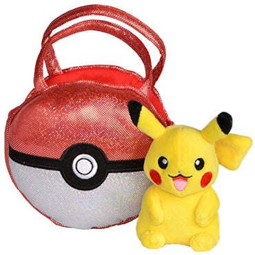 Pokemon Poke Ball Plush Purse, Comes with Cute Mini Pikachu Plush