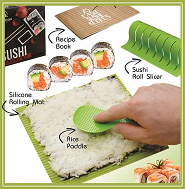 Roll Model Sushi - DIY Sushi Making Kit with Silicone Rolling Mat and Recipe Book