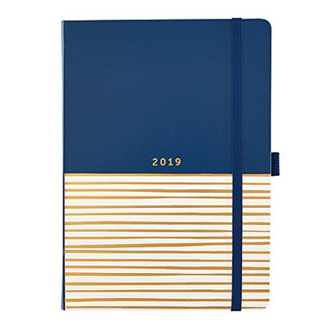 Busy B A5 2019 Stripe Design Busy Life Week to View Diary with Pockets and Dual Schedules