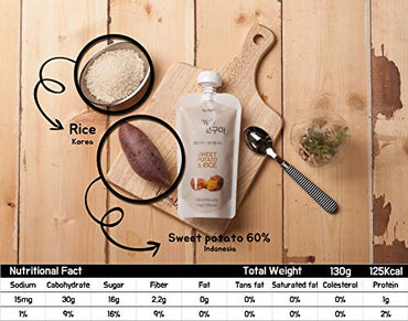 Wellygo 'Real Porridge' Healthy Natural Asian Style Instant Breakfast Puree Nutritional Balanced 4.7oz 10 Packs (Sweet potato)