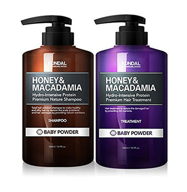 Kundal Honey&Macadamia Premium Nature Shampoo 500ml & Hair Treatment 500ml Set (Baby Powder)