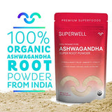 SUPERWELL Ashwagandha Super Root Powder (12 Oz / 340 Servings) | 100% USDA Organic | Raw | All Natural | Premium Superfood from India | Improves...