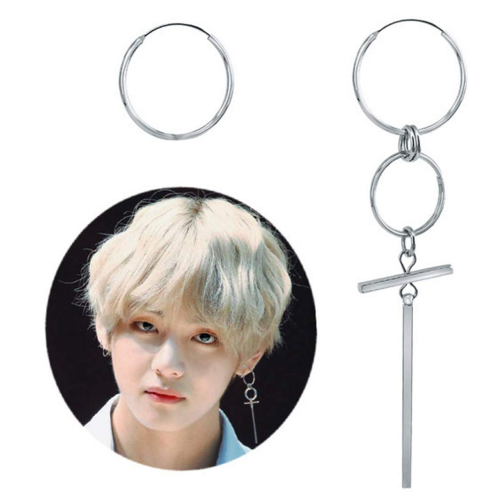 YFresh BTS Bangtan Boys V Jimin Suga The Same Style Vintage Silver Studing Earrings