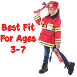 Born Toys 8 PC Premium Washable Fireman Costume and Firefighter Accessories with Real Water Shooting Extinguisher Great Gift for Boys and Girls