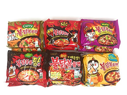 Samyang Spicy Chicken Hot Ramen Noodle Buldak Variety Collection: Nuclear, Original, Cheese, Curry, Stew Type, and Mala