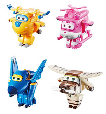 "Super Wings US710620 Transform-a-Bots Donnie, Dizzy, Jerome, Bello, Toy Figures, 2"" Scale"