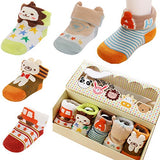 Fly-love® 5pairs Animal Non-Skid Slip Toddler Socks Cotton Unisex Baby Crew Sock 0-18 months With Box