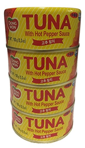 Dongwon Hot Red Pepper Tuna 5.3oz/150g (Pack of 4) / 고추참치