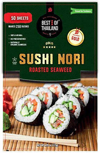 Organic Sushi Nori Seaweed Sheets | Premium Roasted Seaweed | 50 Sheets for Sushi Making | 100% Natural Preservative-free Kosher Certified | Dried...