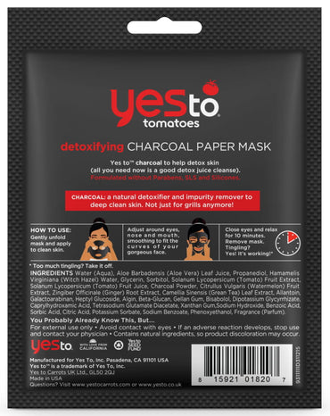 Yes to Tomatoes Detoxifying Charcoal Paper MaskYes to Tomatoes Detoxifying Charcoal Paper Mask