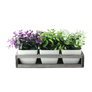 "6.5"" Decorative Foliage in Off White Petite Vase with Distressed Wood Tray - Grey"