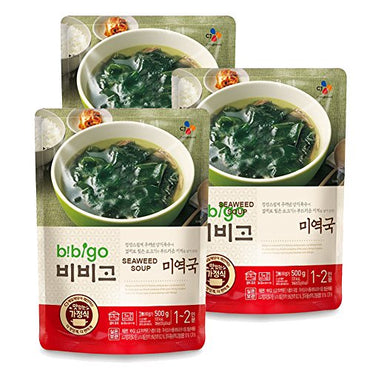 Korean Bibigo Pre-made Packaged Seaweed Soup 500g, 3 Packs