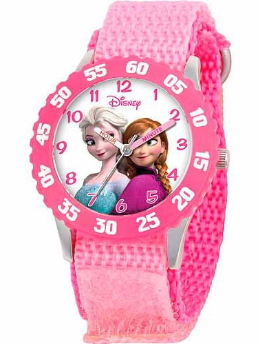 Disney Frozen Anna, Snow Queen Elsa Girls' Stainless Steel Watch, Pink Strap