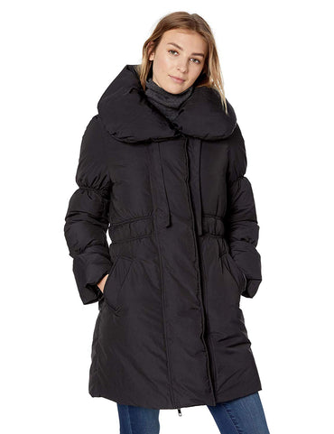 Lark & Ro Women's Shoulder Pillow Collar Gathered Fit and Flare Puffer Jacket