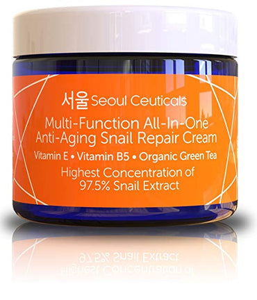 Korean Skin Care Snail Repair Cream Moisturizer - 97.5% Snail Mucin Extract - All In One Recovery Power For The Most Effective Korean Beauty Routine