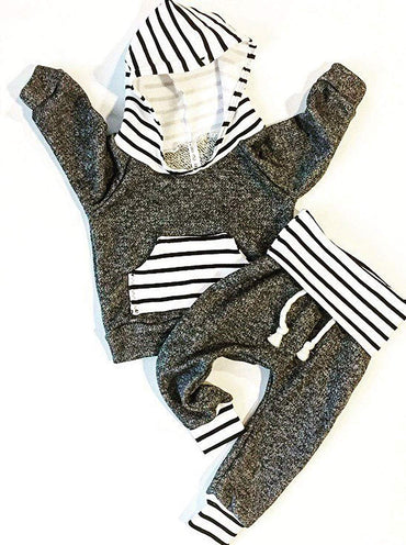 Toddler Infant Baby Boys Striped Long Sleeve Hoodie Tops Sweatsuit Pants Winter Outfit Set