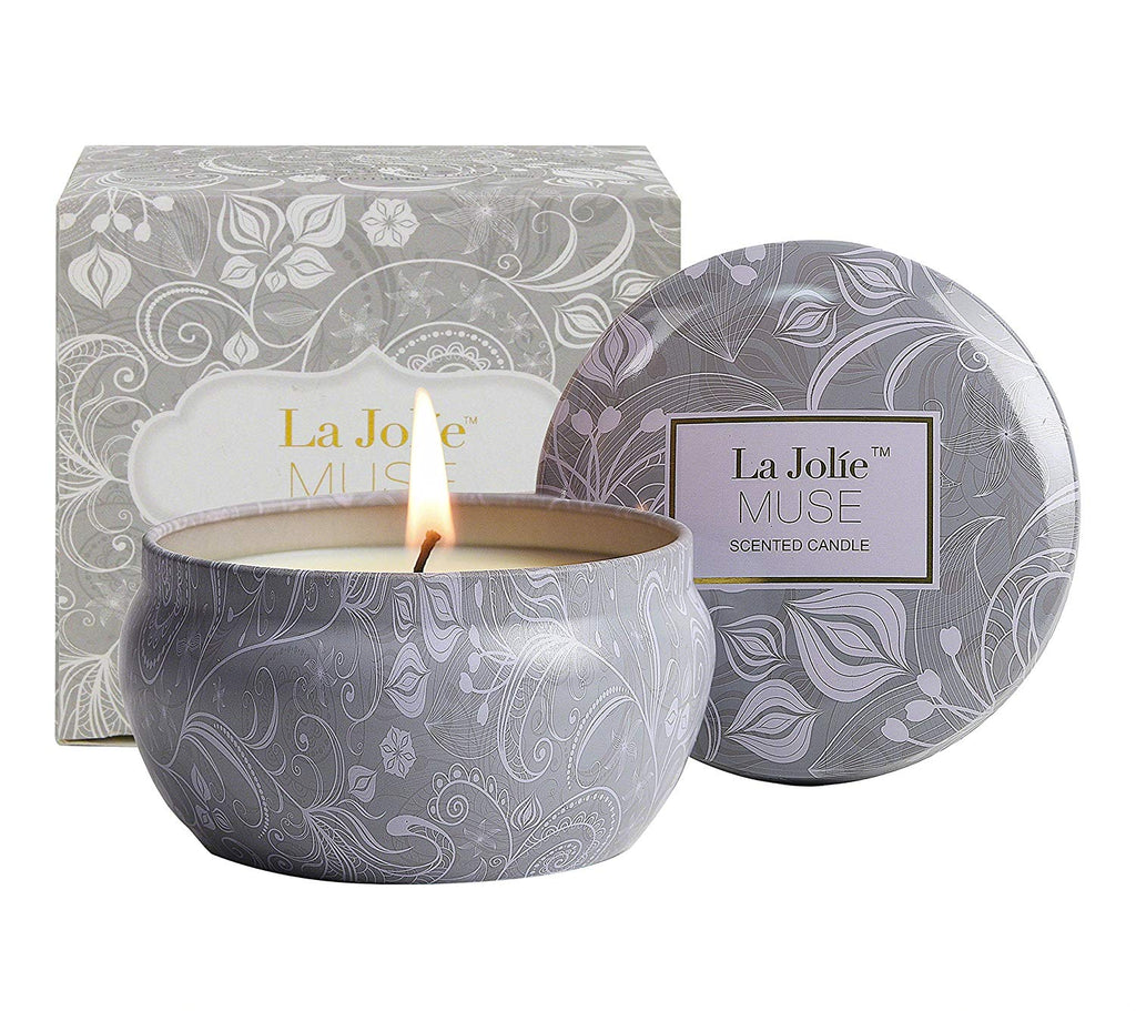 LA JOLIE MUSE Scented Candles Blue Lotus Aromatherapy Candle Soy Wax, Stress Relief Travel Tin, 45 Hours Burn Time