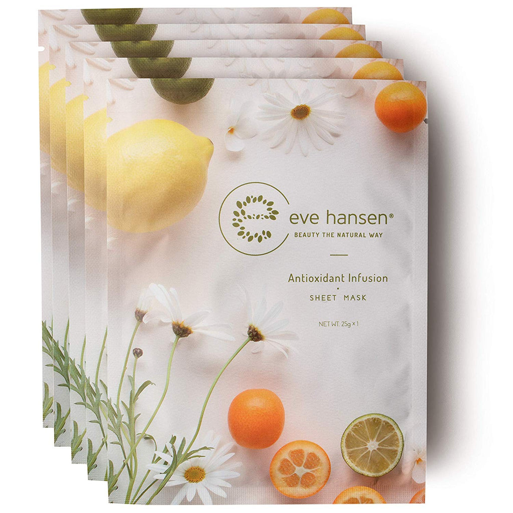 Moisture Recovery Sheet Mask by Eve Hansen - Intensive Sun Damage Repair with Deep Hydration - Pack of 5 Face Masks