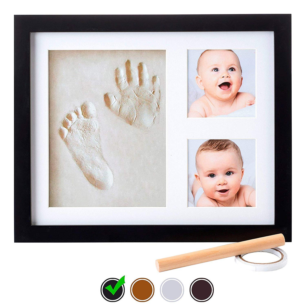Baby Handprint Kit by Little Hippo |NO MOLD| Baby Picture Frame & Non Toxic CLAY! Baby Footprint kit, Perfect for Baby Boy gifts, and Baby Girls Gifts! (Black, Standard)
