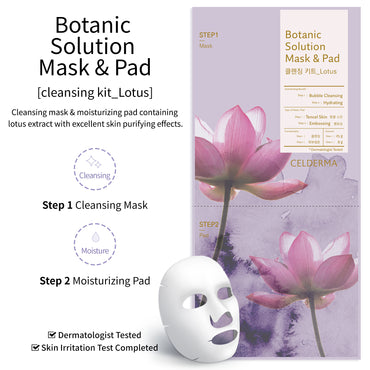 Face Mask Pack (5 Sheets), Botanic Solution Cleansing Kit (Lotus), Bubble Cleansing Mask (Step 1) and Hydrating Pad (Step 2)