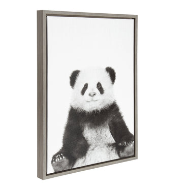 DesignOvation Sylvie Sitting Panda Black and White Portrait Grey Framed Canvas Wall Art by Simon Te