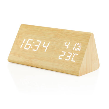 Gearonic Wooden Alarm Clock Wood LED Digital Desk Clock Time Humidity