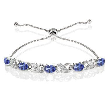 Glitzy Rocks Sterling Silver Tanzanite and Diamond Accent Infinity Adjustable Bracelet